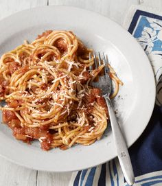 Traditional pasta gets an upgrade from Jenn Louis, chef-owner of Lincoln Restaurant in Portland, Oregon, with the addition of smoky, salty bacon and zesty red onion. Recipe: Spaghetti with Red Onion and Bacon   - CountryLiving.com