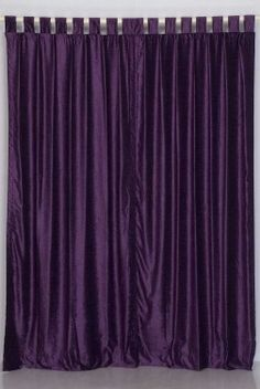 Indian Selections Purple Tab Top Velvet Curtain/Drape/Panel - x - Piece Purple Curtains, Purple Bedding, Sheer Curtains, Bedroom Curtains, Purple Hues, Purple Velvet, Deep Purple, Addison House, Velvet Drapes