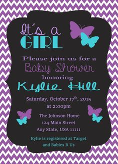 Purple U0026 Teal Butterfly Baby Shower Invitation By ThreeJDesigns