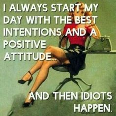 I always start my day with the best intentions and a positive attitude. And then idiots happen.
