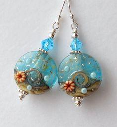 Ocean Jewelry Lampwork Bead Earring Beach Jewelry Sea by ShoreItUp