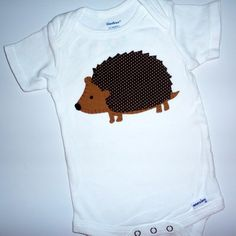 Hedgehog Applique Onesie @June Groff. You could use more of dads shorts lol