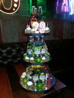 Beer Bottle Cake Decorations Beer Bottle Cake Tower Dos Equis And Corona Bottles Red Ribbon