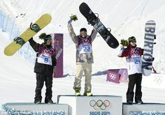 Sage Kotsenburg wins first Sochi gold medal in Men's Slopestyle . Medallists: (L-R) Norway's Staale Sandbech, Silver; and Canada's Mark Mcmorris, Bronze, celebrate on the podium. Summer Games, Winter Games, Sage Kotsenburg, Mark Mcmorris, Asian Games, National Treasure, Olympic Games, Snowboarding, Cool Kids