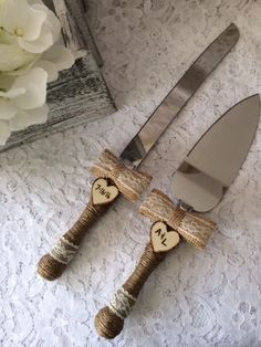 Rustic Cake Knife Set, Wedding Accessory, Burlap Cake Knife Set, Lace Wedding Knife & Server Set, Engraved Cake Knife Set, Burlap bow knife by therusticcharmer on Etsy https://www.etsy.com/listing/449750042/rustic-cake-knife-set-wedding-accessory