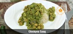 Chickpea Saag - vegetarian recipes from hotforyoga. Saag, Omega 3, Chickpeas, Bright Green, Guacamole, Cauliflower, Spinach, Dairy Free, Chili