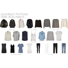 """According to The Pocket Stylist, all you need is..."" 3 coats, 3 sweaters, 2 jackets, 7 tops, 4 skirts/dresses, 4 pants."