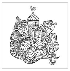 Free coloring page coloring-adult-house-from-a-child-dream-tanyalmera-123rf. Funny houses that seems to come from a child dream ! To color with various colors. Draw by tanyalmera (source : 123rf)