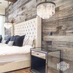 instead of headboard, wooden wall in master bedroom