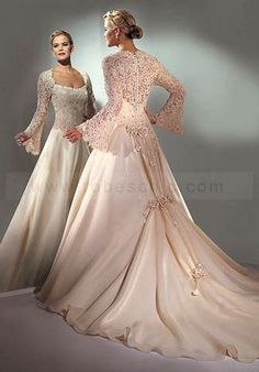Romantic formal wedding dresses with semi cathedral train.