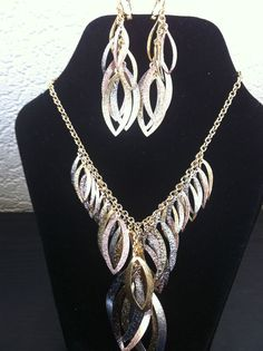 Gold Plated Costume Jewellery 3 Tone Statement Set Choker Earring Handchain New