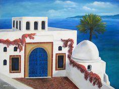 Sidi Bou Said Mediterranean acrylic painting