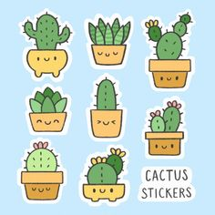 Icons Discover Cute Cactus Sticker Hand Drawn Cartoon Collection Cute cactus sticker hand drawn cartoon c. Cute Food Drawings, Mini Drawings, Cute Kawaii Drawings, Doodle Drawings, Cactus Stickers, Kawaii Stickers, Cool Stickers, Printable Stickers, Doodles Kawaii