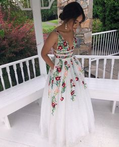 White Prom Dresses,Embroidery V-neck Lace Prom Dresses,Long Party Dresses Related posts:A line long prom dress evening dress Prom Dresses Sweetheart Long Sparkly Prom Dress Charming Evening Dress Classy Prom Dresses, Hoco Dresses, Formal Evening Dresses, Homecoming Dresses, Pretty Dresses, Floral Prom Dresses, Bridesmaid Dresses, Prom Party Dresses, Evening Gowns