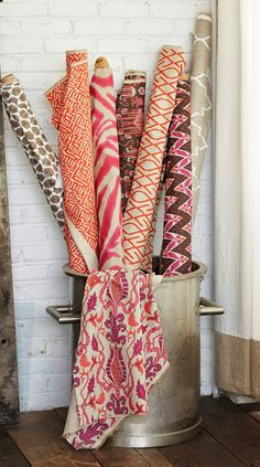Textile Tuesday: Hibiscus Collection  Pink and orange textiles from Lacefield