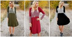 This striped color block midi dress is so chic and flattering! The stripes end in the right place and the length is perfect! Only $22.99!