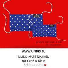 Bei UNDIS www.undis.eu gibt es jetzt auch MUND-NASEN-MASKEN im Partnerlook für Erwachsene und Kinder. Je Stück CHF 6,00 / € 6,00 (Versandkosten sind im Preis inkludiert) #undis #maskeauf #behelfsmaske #mundnasenmaske #mundmaske #gesichtsmaske #nähen #kreativ #bunt #maske #corona #virus #maske #mundnasenschutz #deutschland #schweiz #österreich #maske #kinder #eltern #diy #partnerlook #bunt #gesundheit #mundnasemaske Bunt, Movie Posters, Corona, Kids, Great Gifts, Switzerland, Parents, Masks, Germany