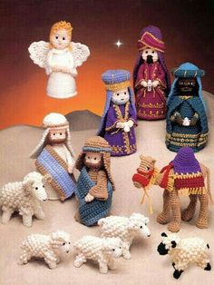 Beautifully detailed characters -- including two shepherds, three Wise Men, sheep and camel -- make great additions to the Nativity e-pattern Crochet Creche. This e-pattern was originally published in The Birth of Christ. Wow, all the detail! Crochet Christmas Decorations, Holiday Crochet, Tree Decorations, Free Christmas Crochet Patterns, Crochet Amigurumi, Crochet Dolls, Christmas Nativity, Christmas Crafts, Christmas Ornaments
