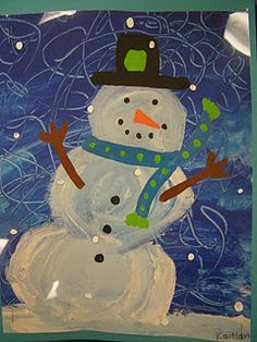 """Eric Carle """"Dream Snow"""" Snowmen painted on transparency paper from Artolazzi blog"""