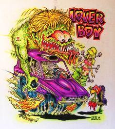 JOHNNY ACE Ed Roth Rat Fink AIRBRUSHED MONSTER SHIRT LOVER BOY Hot Rod REVELL!! #JohnnyAceStudiosEdBIGDADDYRoth