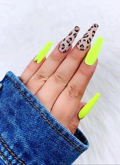 Neon Cheetah | Press On Nails | Cheetah Nails | Brown Nails | Fake Nails | Neon Nails | Coffin Nails | Stiletto Nails Coffin Nails Designs Summer, Cute Summer Nail Designs, Cute Summer Nails, Nail Polish Designs, Acrylic Nail Designs, Cheetah Nails, Polka Dot Nails, Bright Summer Acrylic Nails, Wedding Nail Polish