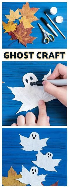 FUN KID PROJECT: Make ghost leaves (BOO-tiful Fall craft for kids) (autumn activities for kids teaching) Bee Crafts For Kids, Fun Projects For Kids, Diy For Kids, Fun Crafts, Kids Fun, Craft Kids, Autumn Crafts For Kids, Toddler Crafts, Mountain Crafts For Kids
