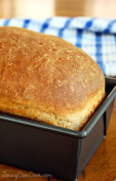 Simple Whole Wheat Bread Recipe from Jenny Jones (JennyCanCook.com) - Start to finish: 90 minutes! #JennyCanCook