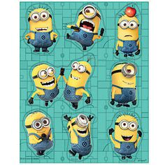 These Despicable Me 2 Stickers features Minions in a variety of fun poses. Each package of Despicable Me 2 Stickers includes four sheets.