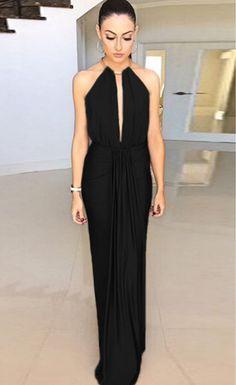$45.99 Black Silky Jewel Halter Evening Dress - Stella La Moda