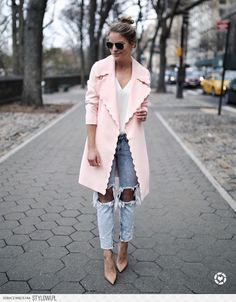 fashionable ootd pink coat + top + ripped jeans except the jeans for my  taste a559b7bea76