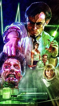 The Re-Animator! An absolutely brilliant zombie film from the and by far my favorite of the genre. Horror Movie Posters, Horror Icons, Movie Poster Art, Horror Films, Classic Horror Movies, Iconic Movies, Sci Fi Movies, Scary Movies, Zombies