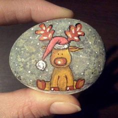 Rudolph painted rock