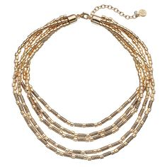 Dana Buchman Swirling Tube Bead Multi Strand Necklace, Women's, Gold
