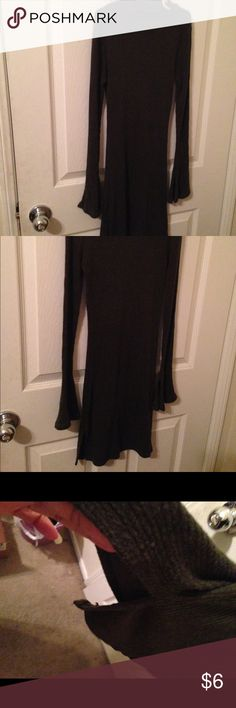 Ladies short choker dress. Feels soft, no tag, sexy split on both side. Olive green color. Dresses Long Sleeve