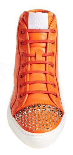 Gucci studded sneakers Love these Studded Sneakers, Gucci Sneakers, Nike Wedges, Peep Toe, Orange Aesthetic, Orange You Glad, Orange Shoes, Orange Fashion, Orange Crush