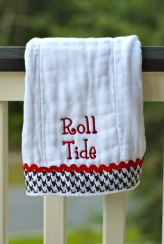 Alabama Roll Tide embroidered burp cloth. $12.00, via Etsy.