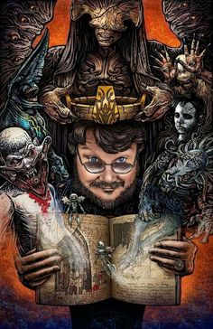 In Service of Monsters, An Art Show Tribute to Film Director Guillermo Del Toro at Monster Art, Guillermo Del Torro, Toros Tattoo, Guerrero Ninja, Mago Tattoo, Arte Horror, Sign Printing, Film Director, Horror Movies