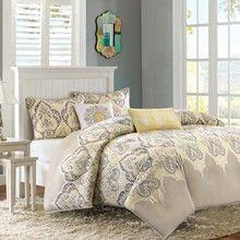 Yellow and Grey Nisha Comforter Set by Madison Park