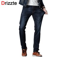 0ae637b054b US $29.58 49% OFF|Drizzte Mens Jeans Stretch Denim Jean Plus Size 32 34 35  36 38 40 42 44 46 Pants Trousers Designer Slim Fit Jeans For Men-in Jeans  from ...