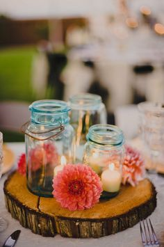 Country Centerpiece-love this with the mason jars