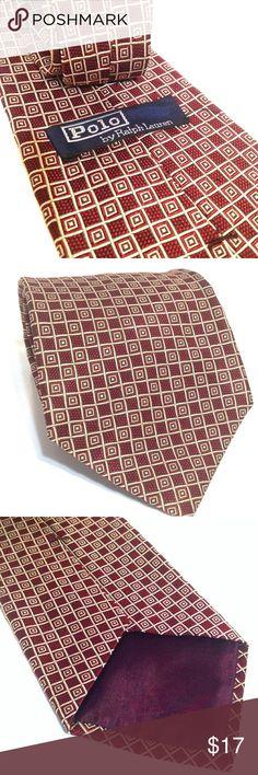 Ralph Lauren classic dapper men's necktie Burgundy geometric pattern, 100% Silk Ralph Lauren Accessories Ties
