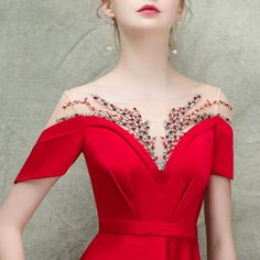 Luxury / Gorgeous Red See-through Evening Dresses 2018 A-Line / Princess Square Neckline Short Sleeve Beading Sweep Train Ruffle Formal Dresses - evening dress Long Gown Elegant, Elegant Dresses, Formal Dresses, Myanmar Traditional Dress, Traditional Dresses, 21st Dresses, Evening Dresses, Dresses Dresses, Vestidos Marisa
