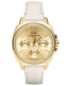 COACH WOMEN'S BOYFRIEND WHITE LEATHER STRAP WATCH 40MM 14502084 - Watches - Jewelry & Watches - Macy's
