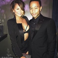 Not shy: Chrissy Teigen turned up the sexy factor to a ten when she went from the Met Gala's red carpet to Rihanna's afterparty in New York on Monday night with husband John Legend
