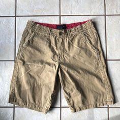 Quiksilver Men's Camel Tan Cotton Khaki Pocket Bermuda Walking Work Shorts 34W #Quiksilver #KhakisChinos