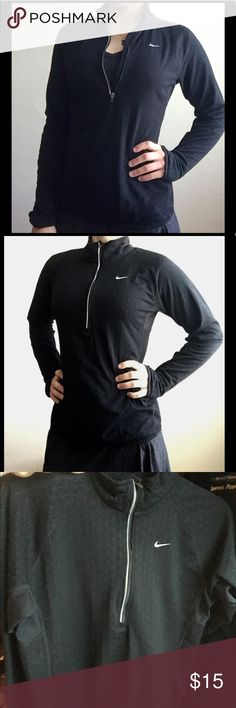 Nike Dry-Fit Black Medium Running Pullover Awesome quality! Great triangular design. Small zippered pocket on back near bottom of pullover. Nike Jackets & Coats