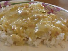 Ranch Chicken and Rice 1 can chicken 2 cans cream of chicken 1/2 packet Ranch dressing mix milk *On the stove, put chicken, soup, and dressing mix in a saucepan. Stir together and mash up chicken pieces. Heat over medium, adding milk to thin (about 1/2 cup). Heat for 10 minutes or so, stirring occasionally. Serve over rice. We always eat this with peas and it's good mixed together if you don't mind mixing your food.