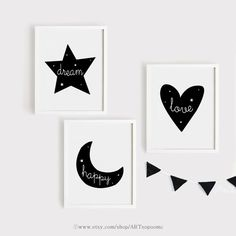 Dream star, Happy moon, Love Heart Nursery Art Set of 3 Poster Baby Child Kids room Quotes Wall Deco Kids Room Art, Art Wall Kids, Nursery Wall Art, Baby Room Paintings, White Canvas Art, Wall Decor Quotes, Black And White Wall Art, Kindergarten, Drawing For Kids