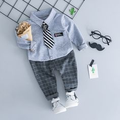 Boys Autumn Clothes 2018 New Fashion Style Cotton Shirt and Pant Children Clothing Kids Good Quality Baby Boys Clothes Set Informations About Boys Autumn Clothes 2018 New Fashion Style Cotton Shirt an Plaid Pants Outfit, Plaid Suit, Newborn Outfits, Baby Boy Outfits, Kids Outfits, Baby Boy Clothing Sets, Children Clothing, Newborn Clothing, Baby Boy Dress