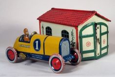 Lehmann tin wind-up toy, Galup Racer and Garage, Germany